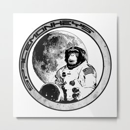 Space Monkeys Black & White Metal Print