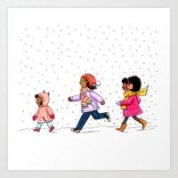 Snow kids Art Print