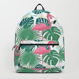 Pink flamingos and green palm leaves pattern Backpack
