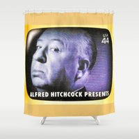 hitchcock Shower Curtains featuring Alfred Hitchcock Presents by lanjee