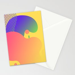 Mult Color Geometic Shapes on Yellow Orange Background Stationery Cards