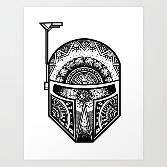 Mandala Boba Fett - Black. The baddest bounty hunter in the land. Art Print