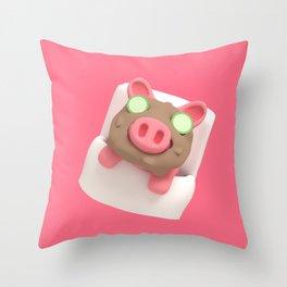 Rosa the Pig does Mud Bath Throw Pillow