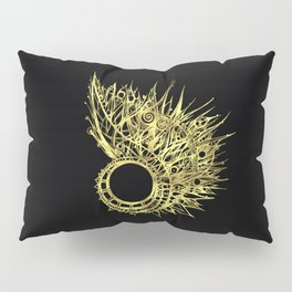 GOLDEN CURL - SHINING PAINTING ON BLACK BACKGROUND Pillow Sham