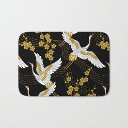 flower bird traditional patterns in japanese design - yellow on black background Bath Mat
