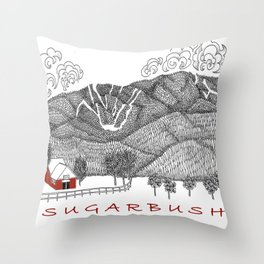 Sugarbush Vermont Serious Fun for Skiers- Zentangle Illustration Throw Pillow