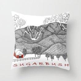 Sugarbush Vermont Serious Fun for Skiers- Zentangle Illustration Throw Pillow
