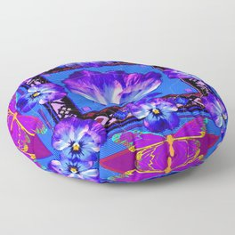 Purple Pansy & Butterflies Melody Abstract Floor Pillow