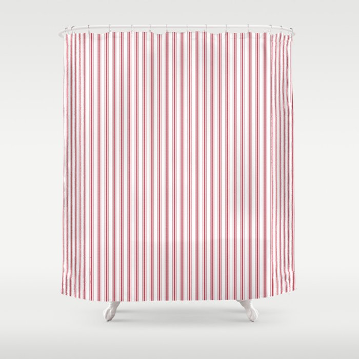 Mattress Ticking Narrow Striped Usa Flag Red And White Shower Curtain By Podartist
