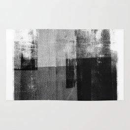 Black and White Minimalist Geometric Abstract Rug