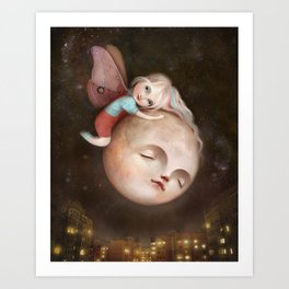 The Moth and the Moon Art Print