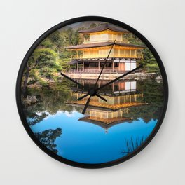 Wonderful Japanese Zen gardens at Golden Pavilion, Kyoto, Japan. Wall Clock