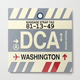 DCA Washington • Airport Code and Vintage Baggage Tag Design Metal Print