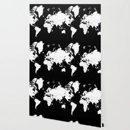 Minimalist World Map White on Black Background. Wallpaper