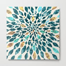 Glitter Dahlia in Gold, Aqua and Ocean Green Metal Print