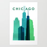 chicago bulls Art Prints featuring CHICAGO by Grace Fowler