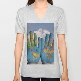 Body Painting - Hands with Map of the World Unisex V-Neck