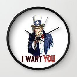Uncle Sam I Want You Wall Clock