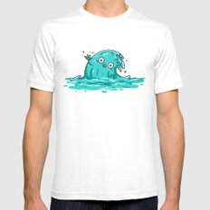 Waving SMALL White Mens Fitted Tee