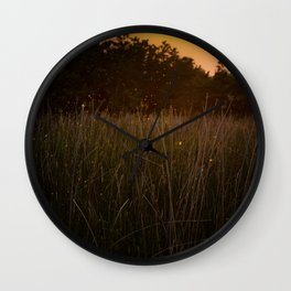 Sunset in the Fields Wall Clock