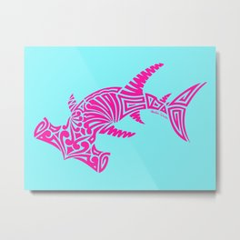 Nancy's Hot Pink Tribal Hammerhead Shark Metal Print