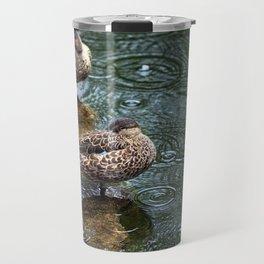 Mallard Ducks in the Rain Travel Mug