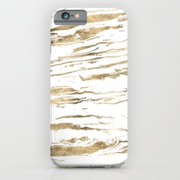 Gold abstract marbleized paint iPhone Case