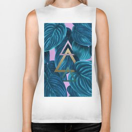 tropical turquoise leaves pattern Biker Tank