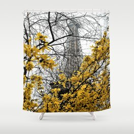 Eiffel Tower yellow flowers Shower Curtain