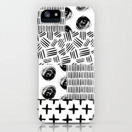 Modern black white hand drawn watercolor geometrical iPhone Case