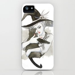 the witch with the cat iPhone Case