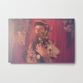 Filthy George Magenta Flowers 1 Metal Print