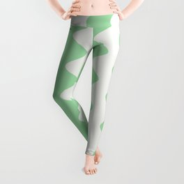 Pastel Mint Green & Linen White Wavy Vertical Rippled Stripe Pattern Pairs to 2020 Color of the Year Leggings