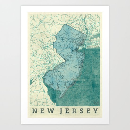 New Jersey State Map Blue Vintage Art Print