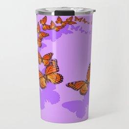 Monarch Butterflies Migration in Lilac Purple Graphic Art Travel Mug