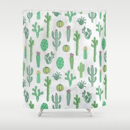 Cactus Pattern White Shower Curtain