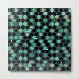 Abstract hexagon retro geometric pattern Metal Print