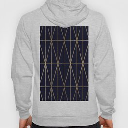Modern gold geometric triangles pattern navy blue watercolor Hoody