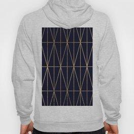 Modern gold geometric triangles pattern navy blue watercolor Hoody
