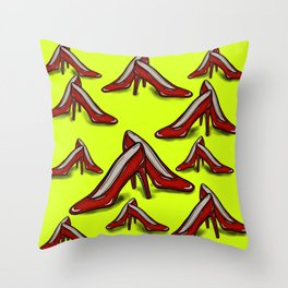 Red Ruby Heels on Fluoro Yellow Throw Pillow