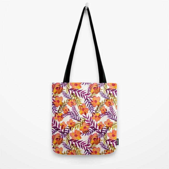 Tropical pattern lila mustard Tote Bag