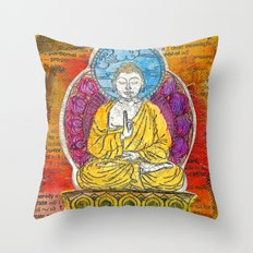 Yellow Buddha Throw Pillow