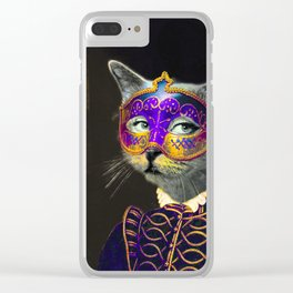 The Cat Behind the Mask Clear iPhone Case