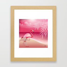 FLAMINGO BEACH | pink Framed Art Print