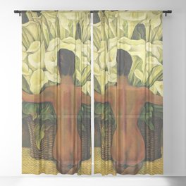 """""""Nude With Lilies"""" by Diego Rivera Sheer Curtain"""