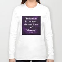 "oscar wilde Long Sleeve T-shirts featuring ""Imitation is the most sincere form of flattery."" - Oscar Wilde by Retro Designs"