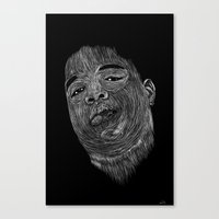 notorious big Canvas Prints featuring Biggie ( Notorious Big ) by William