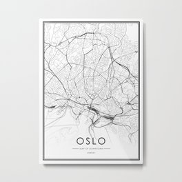 Oslo City Map Norway White and Black Metal Print