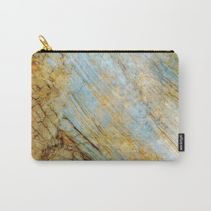 Blue and Gold Marble Carry-All Pouch