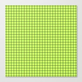 Lime Green with Black Grid Canvas Print